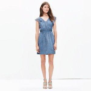 Madewell Dusty Blue Lace Flutter Sleeve Dress